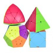 Smartcraft Premium Rubik's Speed Cube Gift Set, Stickerless Pyramid, Megaminx ,MasterMorphix & Skewb Cube (Pack of 4 Stickerless Speed Cubes)