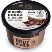Scrub de corp Organic Shop delicios cu zahar si cacao Belgian Chocolate, 250 ml