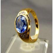 Zlatý dámsky prsteň, syntetický akvamarín žlté zlato VP58643Z
