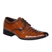 Shoe Island Premium Class Tan Brown Derby Formal Shoes