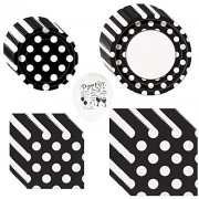 Black Polka Dot Party Pack For 8 Guests