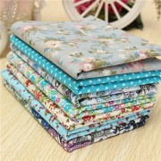 Generic 50X50Cm Blue Series 7 Assorted Cotton Quilt Fabric Floral Printed Fabrics Set