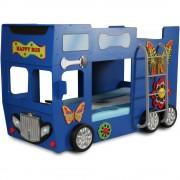 Plastiko Patut in forma de masina Happy Bus - Plastiko - Albastru