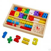 Assemble Wooden Toys Figures Education Learning Educational Toys,Abacus Clock Numbers Play Thing,Digital Learning Tools for Kindergarten Preschoolers,Arithmetic Math Games for Kids,