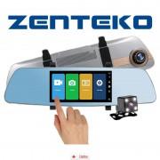 Camera Auto Oglinda Offroad Zenteko Full HD cu touchscreen SM 502CM + Tripla Auto USB, Card Memorie MicroSD 32GB