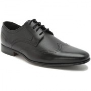 Hats Off Accessories Genuine Leather Black Derby Shoes with wingtip toe cap