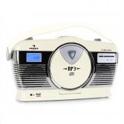 Auna RCD-70CR, ретро радио, FM, USB, CD, батерия, кремав цвят (MG-RCD-70-Y)
