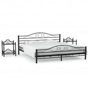 vidaXL Рамка за легло с 2 нощни шкафчета, метал, 160x200 cм, черни