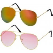 Freny Exim Aviator Sunglasses(Golden, Pink)
