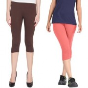 Pixie Women Super Fine Capri 190 GSM Pack of 2 (Brown and Baby Pink) - Free Size