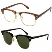 Flynn Clubmaster Sunglasses(Clear, Grey)