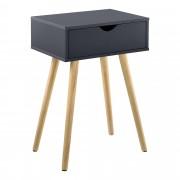 [en.casa]® Mesa auxiliar con un Cajón - 60 x 40 x 29,5 cm - Mesilla de noche - Mesita - Cómoda - Diseño - Gris oscuro