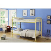 Thomas collection twin over twin yellow finish tubular metal design bunk bed
