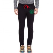 Cliths Men's Black Green Round Zeep Printed Trackpant