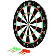 Planet of Toys Double faced 17 inch portable dart board with 6 Darts Set For Kids Children.