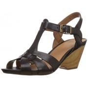 Clarks Women's Popple Jive Black (Fit D) Leather Fashion Sandals - 7 UK