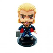 Smart Buy Solar Powered Thor Bobble Head Action Figure Super Hero with Stand Cartoon Characters Marvel Avengers Car Dashboard Statue Accessory