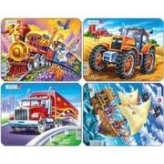 Set 4 Puzzle-Uri Pirati, Tractor, Camion, Tren, 8 Piese Larsen