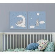 MagisWall slike na platnu Slonić na mjesecu plavi
