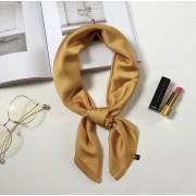 Stijlvolle Sjaal Okergeel - Oker - Geel - Goud - Gold DH collection - Hoofdband - Sjaaltje - Bandana - Haarband | Effen | Prachtige glans | Chique om nek of aan tas!