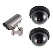 Merkloos Dummy beveiligingscamera set 3 stuks zwart/zilver - Dummy beveiligingscamera