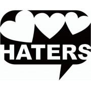 Zwarte Love Haters sticker - sticker met harten en woord haters - gek aanstekerige sticker - 15,2 x 11,8 cm - aut 118