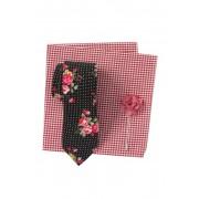 Original Penguin Patterson Floral Tie Pocket Square Lapel Pin Set BLACK