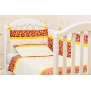 Lenjerie patut bebe 4 piese Maruntei rosii 120 x 60 cm