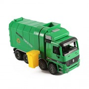 "14"" Friction Powered Recycling Garbage Truck Toy for Kids with Side Loading and Back Dump"