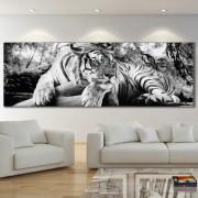 Tablou Canvas Tigru cu Ochi Turcoaz ATGR106 (Dimensiune LxH: 150x50cm)