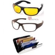 Ediotics Set of 2 Night Driving Sunglasses- Yellow Transparent Alumi Wallet Combo