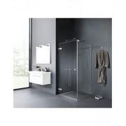 Dansani AIR dusch i klart glas med dörr, fast vägg, arm och golvprofil 80x80, vänster