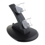 Generic Led Dual Usb Charging Dock Cradle Station Stand For Sony Playstation 4 Ps4 Game Gaming Controller + Free Analog Thumbstick Grips