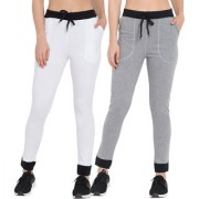 Cliths Pack of 2 Women's Cotton Casual Stylish Track Pants/White Black Grey Black Lowers For Women/Girls