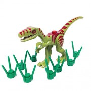 Lego Dinosaur Coelophysis/Raptor Olive Green With Dark Red Markings And Grass Stems