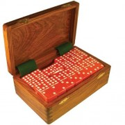 Domino Double Nine Red in Dovetail Jointed Sheesham Wood Box - Jumbo Tournament Size w/Spinners