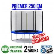 TRAMPOLÍNA G21 250 CM + REBRÍK + OCHRANNÁ SIEŤ