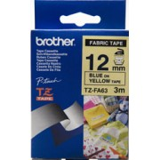 Brother 12MM BLUE ON YELLOW FABRIC TZ TAPE, SAME AS TZ-FA63 WITH NEW ECO FRIENDLY PACKAGE)