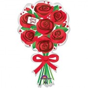 Anagram International Love You Red Roses Flat Balloon 30 Multicolor