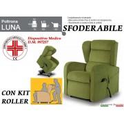 Il Benessere Poltrona Relax Luna Sfoderabile 2 Motori con Alzapersona e Kit Roller Prodotto Italiano