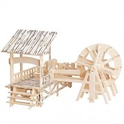 10$Store 3D Wooden Puzzles Woodcraft Construction Kit DIY Water Mill Puzzles Kids Toys Gifts