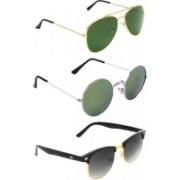 Abner Aviator, Round, Clubmaster Sunglasses(Green, Multicolor, Black)
