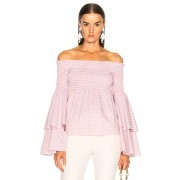 Caroline Constas Appolonia Top in Checkered & Plaid,Pink. - size S (also in XS)