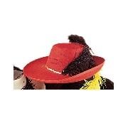 Muskétás kalap filcből (piros színben)