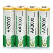 BTY Baterías Recargables AA 1.2 3000mAh
