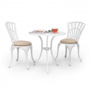 Valletta 3-delige bistroset tafel 2 stoelen gegoten aluminium zitkussens
