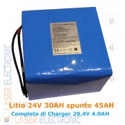 Batteria a Litio 24V 30AH 30000mA Spunto 45A con Caricabatteria 4.0AH