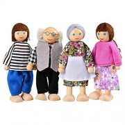 Asatr 7 Piece Poseable Wooden Happy Doll Toys Family Set for Kid's Dollhouse