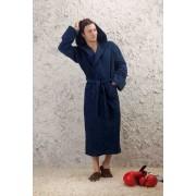 Evateks Удлиненный мужской халат с капюшоном синего цвета Evateks №901 Темно-синий