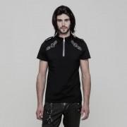 Punk Rave Conviction Buckled Zipper Neck Short Sleeved Shirt Black WT-517TDM